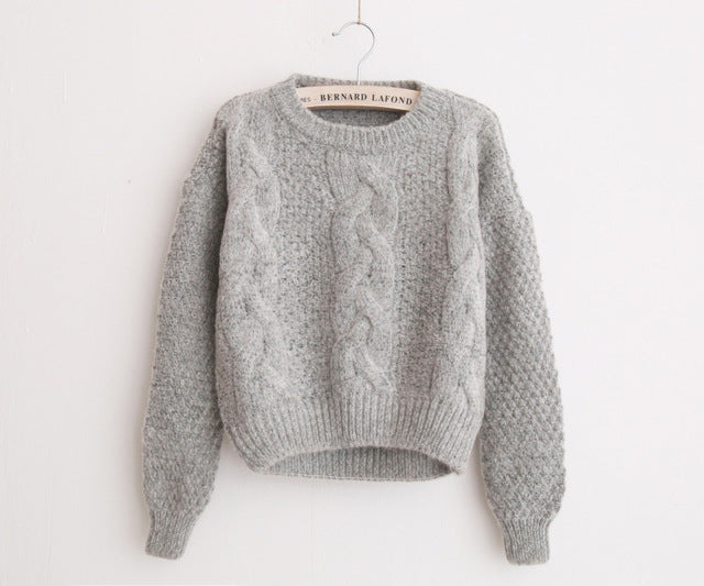 Warm Crewneck Mohair Pullover Twist Pull Jumpers Knitted Sweater