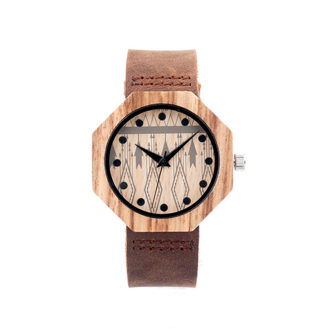 Octagon Wooden Watches Luxury Quartz