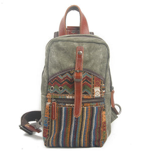 Canvas Geometric Spring Casual Travel Small Chest Bags Package