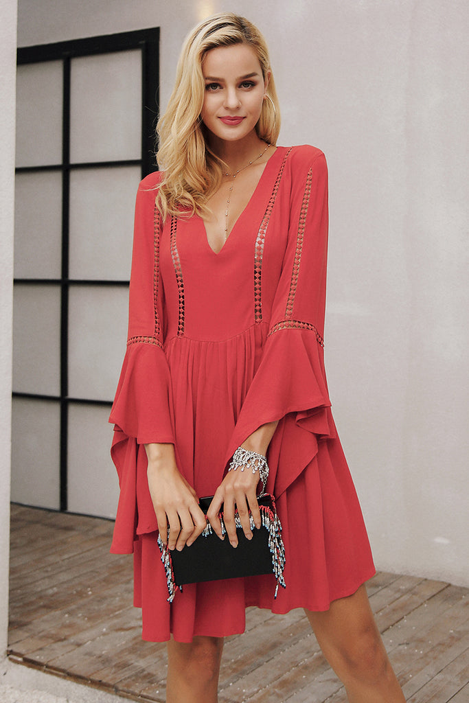 autumn dress Flare sleeve three quarter party dresses