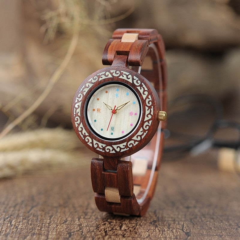 Unique Quartz Wristwatch with Red Wood Band Watches