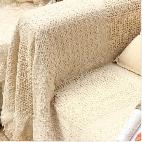 Bed/sofa 100% Cotton Super Soft Knitted Blanket