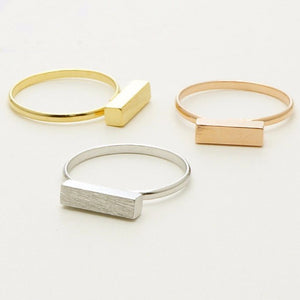 Minimal Thin Cubic Bar Stainless Steel Boho Ring