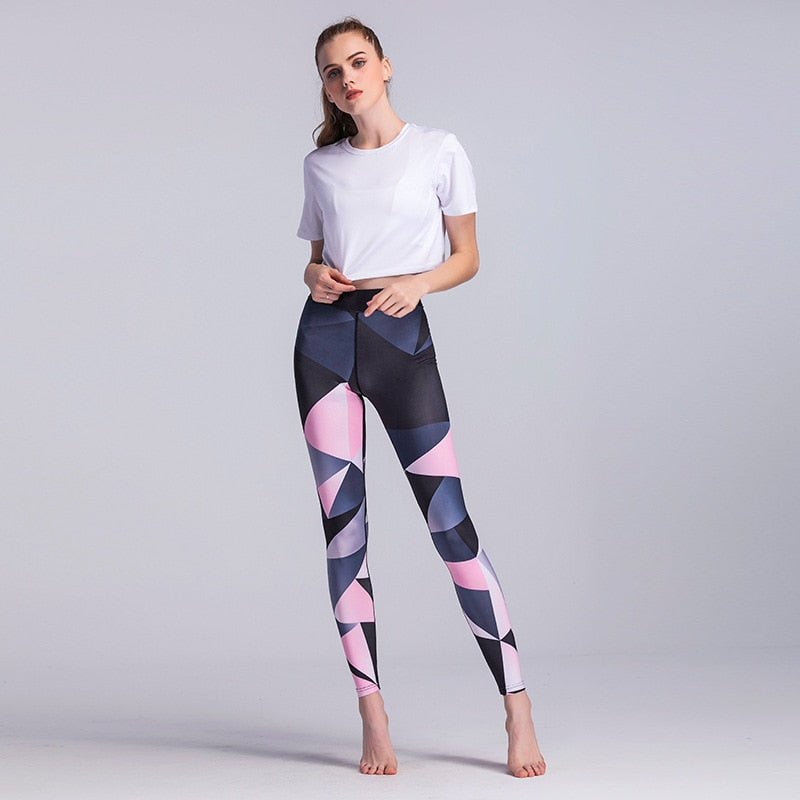 Sport Elastic Color Printed Fitness Yoga Leggings