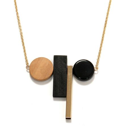 Vintage Geometric Classic Black White Wood Necklaces