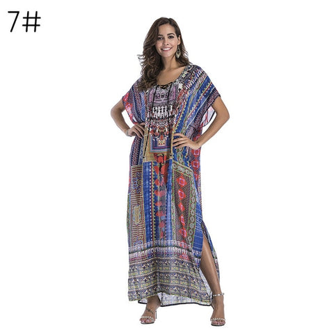 Drilling Boho Print  Chiffon Long Maxi Dress