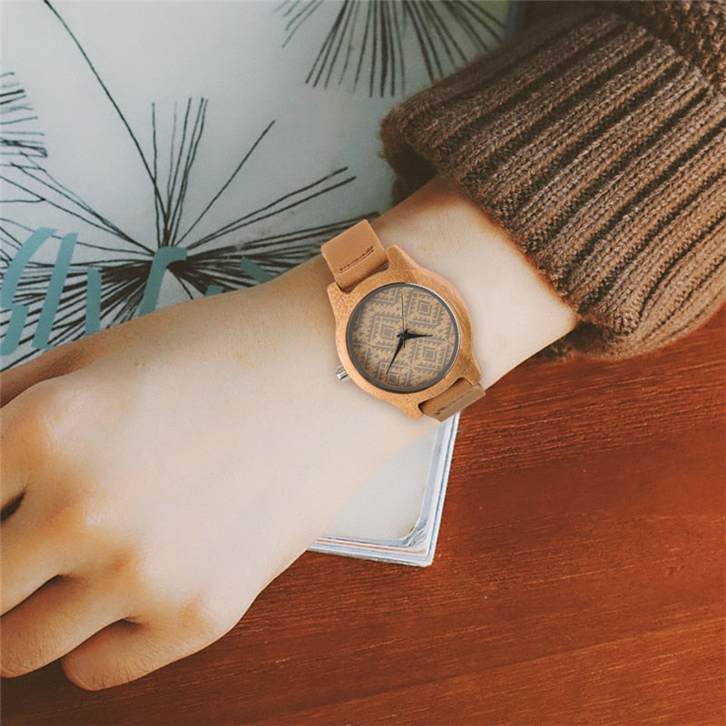 Unique Bamboo Boho Style Leather Watch