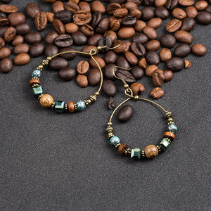 Bohemia crystal wooden beads earring