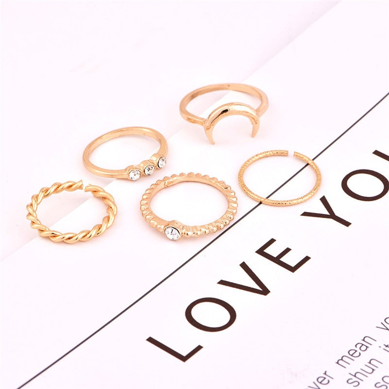 5pcs/set CZ Crystal Bohemian Moon Charms Ring