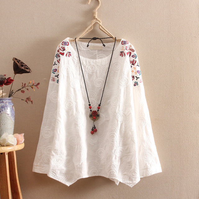 Cotton Embroidery  Linen Blouse Tops