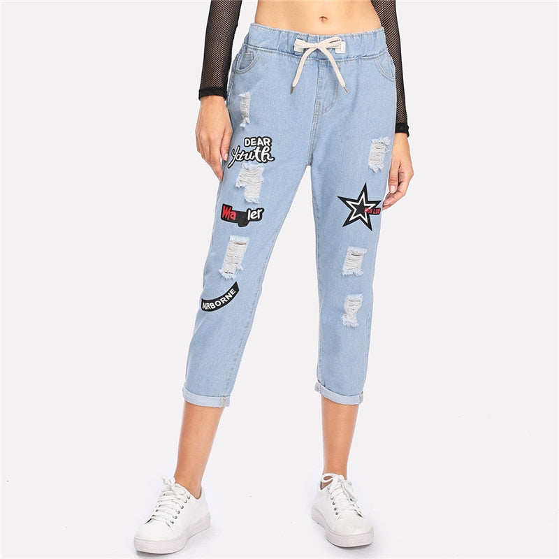 Ripped Cuffed Blue Offset Printing Drawstring Mid Waist Denim Cropped Jeans