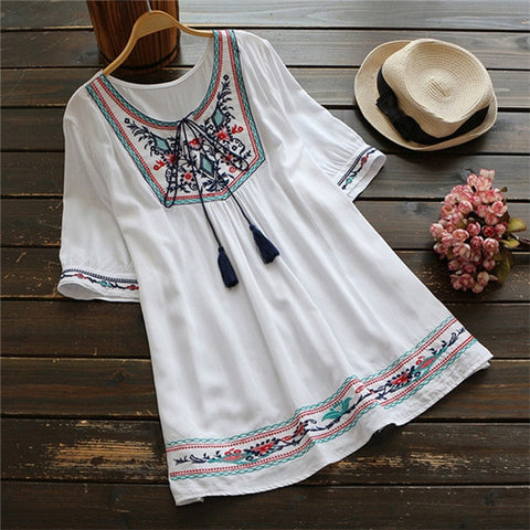 White Ethnic Boho Embroidery Blouse Top