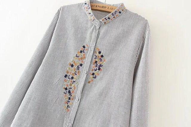 elegant plus size embroidery long shirts top