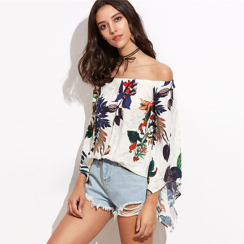 Tropical Print Bardot Trumpet Sleeve Shirt Women Off Shoulder Sexy Top
