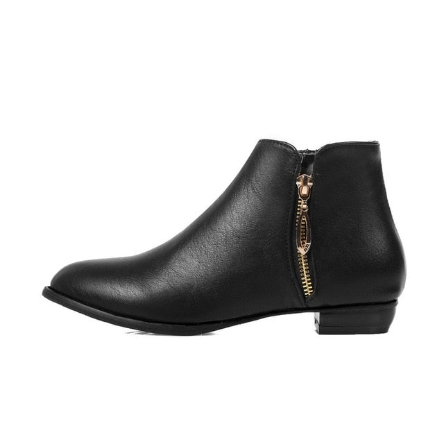 Round Toe Buckle Ankle Boots