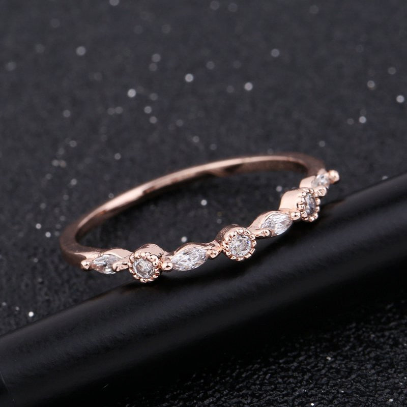 Shining Small Cubic Zircon Ring