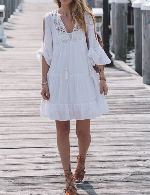 Vintage White Self Tie Fit Chic Cotton Dress