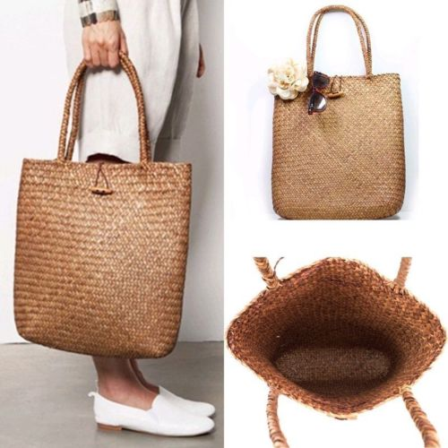 Straw Large Crossbody Beach Shoulder Tote Bag