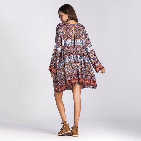 Oversized Loose Bohemia Print Mini Dresses