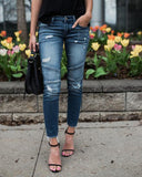 Denim Skinny Ripped Destroyed Pleated Stretch Jeans