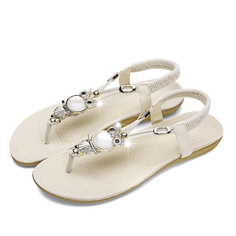 New arrival women flat sandals flip flop t-strap bohemia beaded owl slipper shoes