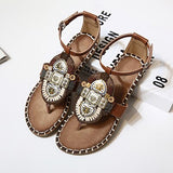 Bohemia Sandals r Boho Flat Heel Metal Beads Rhinestone Bohemian Thong Cover Heel Beach Shoes