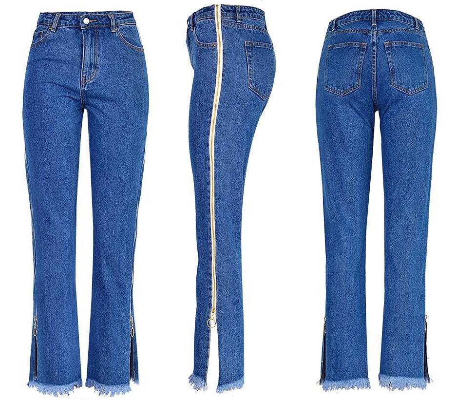 High Waist Skinny Jeans Woman Back Zipper Jeans