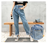Boyfriend jeans woman wide leg denim pants high waist jeans