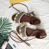Designer Gladiator Sandals Flat Shoes Casual Bohemia Ladies Sandals