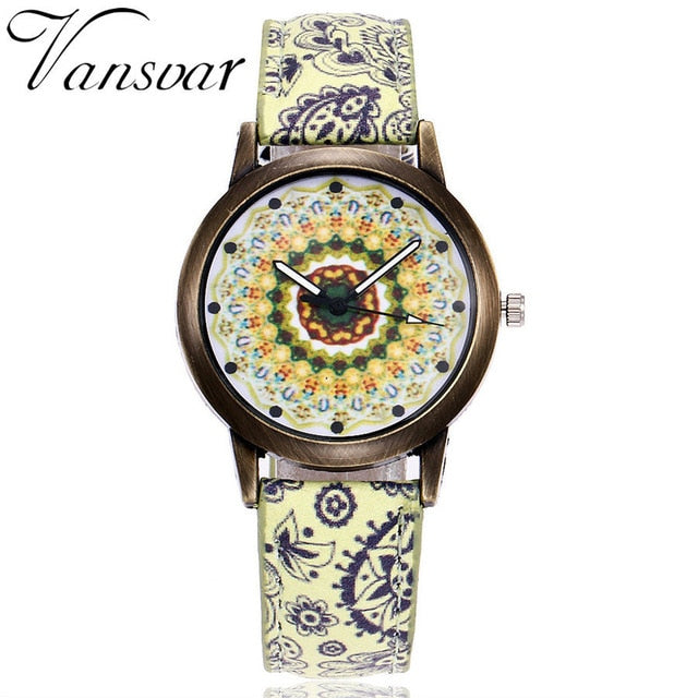 Creative Flower Watches Ladies Fashion Casual Leather Quartz Wristwatches