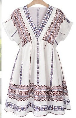 v-neck sweet boho print short sleeves casual dress