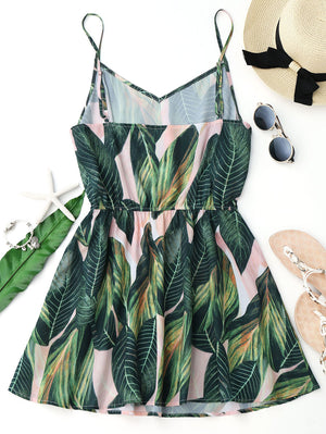 Leaf Print Sleeveless V Neck Spaghetti Strap Elastic Waist Dress