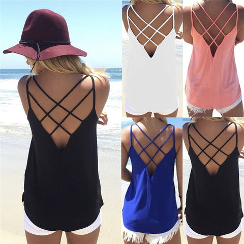 Spaghetti Strap Sexy  Backless Cross T-Shirts Tops