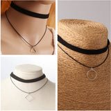 Hot Black Velvet Leather Double Layer Chokers Necklace