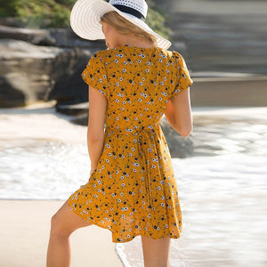 Yellow Wrap Floral Print Elegant Boho Dress