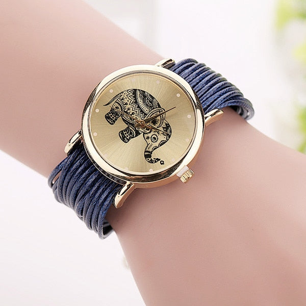 Leather Bracelet Watches Fashion Casual Elephant Wrist Watches