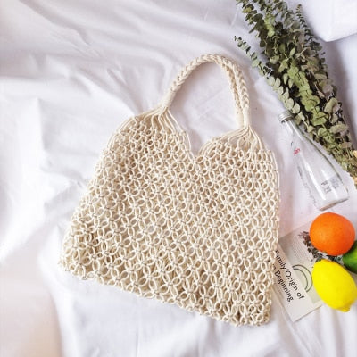 Woven Mesh Rope Weaving Tie Buckle Reticulate Hollow Straw Bag Shoulder Bag