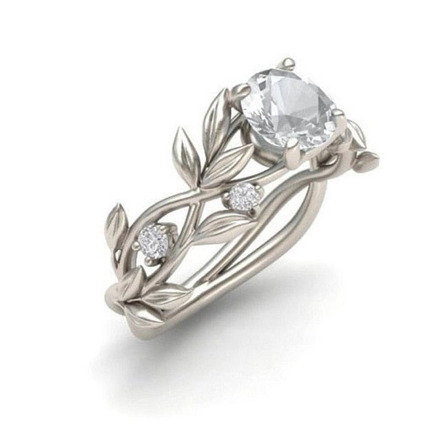 Crystal Silver Color Vine Leaf Design Cubic Zircon Ring