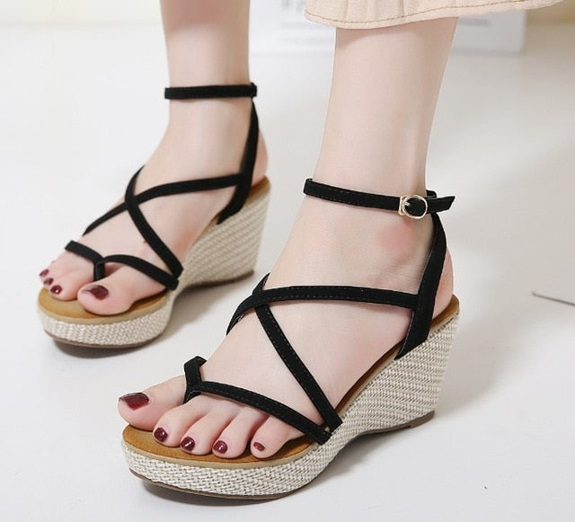 Bohemia Gladiator Sandals Ring Toe Thong Flip Flops Strappy Cross Strap Bandage Comfort Shoes