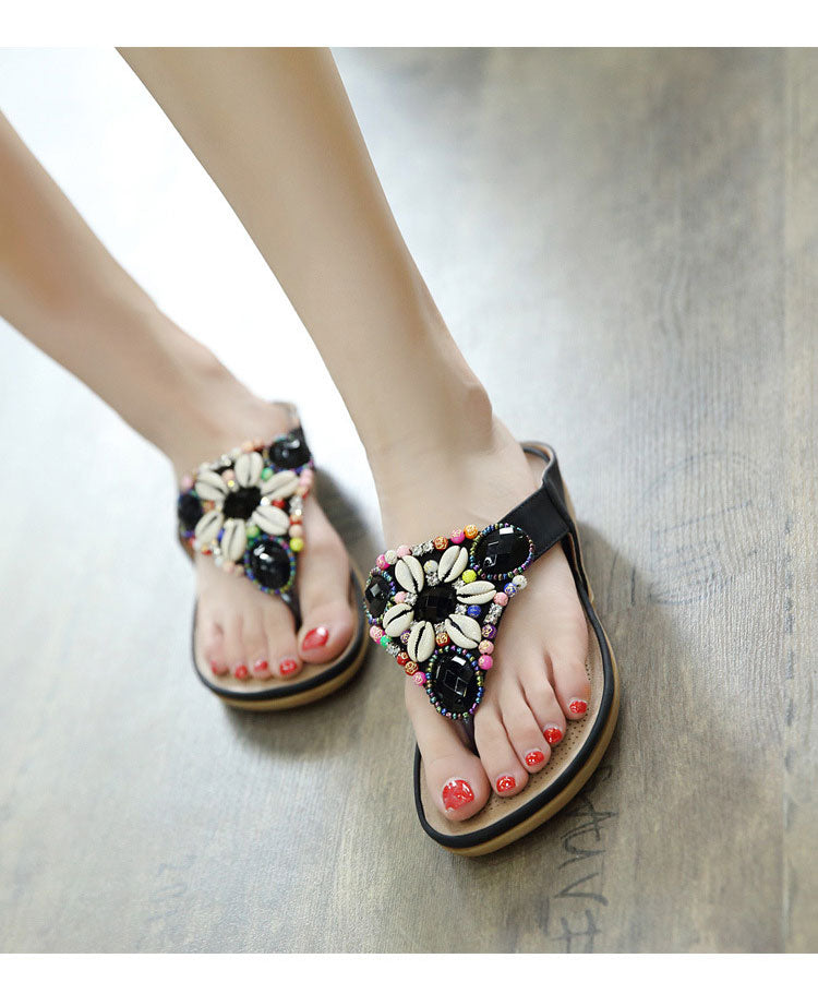 Sandals Gemstone Floral Beaded Flip Flops Bohemia Ladies Shoes