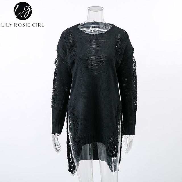Gray Sexy Hollow Out Knitted Sweater