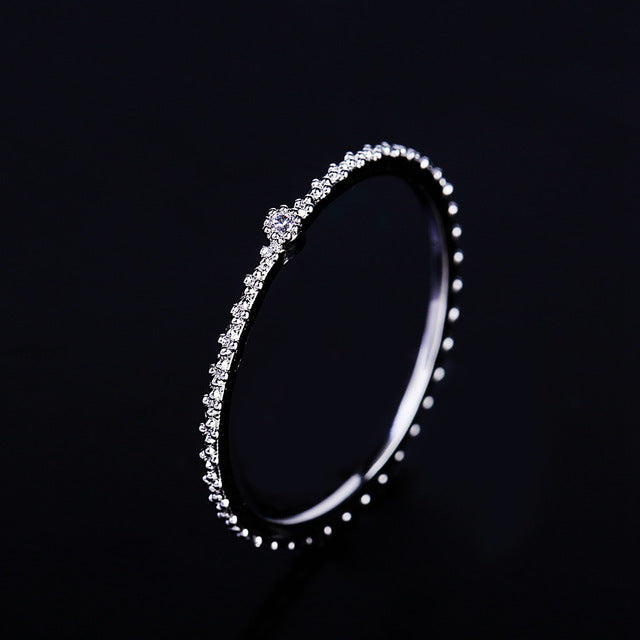 Delicate Single Small Cubic Zircon Crystal Thin Ring