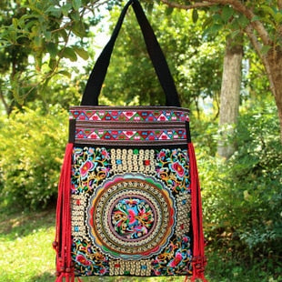 Fashion embroidered bags handmade flower embroidery ethnic cloth shoulder bag