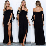 Summer Pure Slash Neck Bow Evening Floor-Length Maxi dress