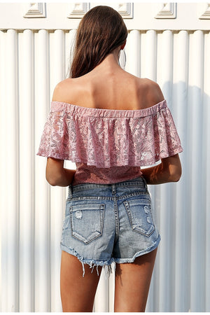 Boho Sexy off shoulder overlay lace bodysuit