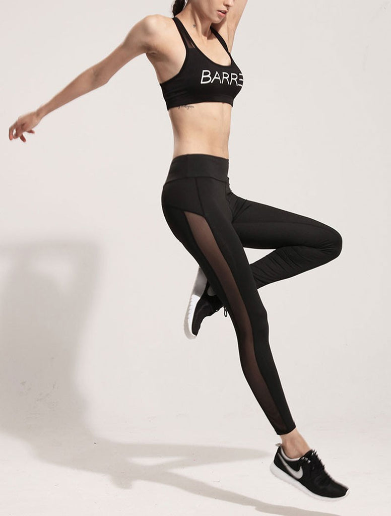 mesh splice fitness slim black legging sportswear