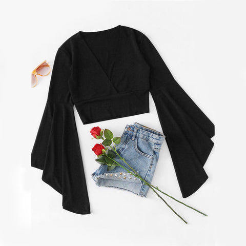 Black V Neck Fluted Sleeve Ruffle Tee
