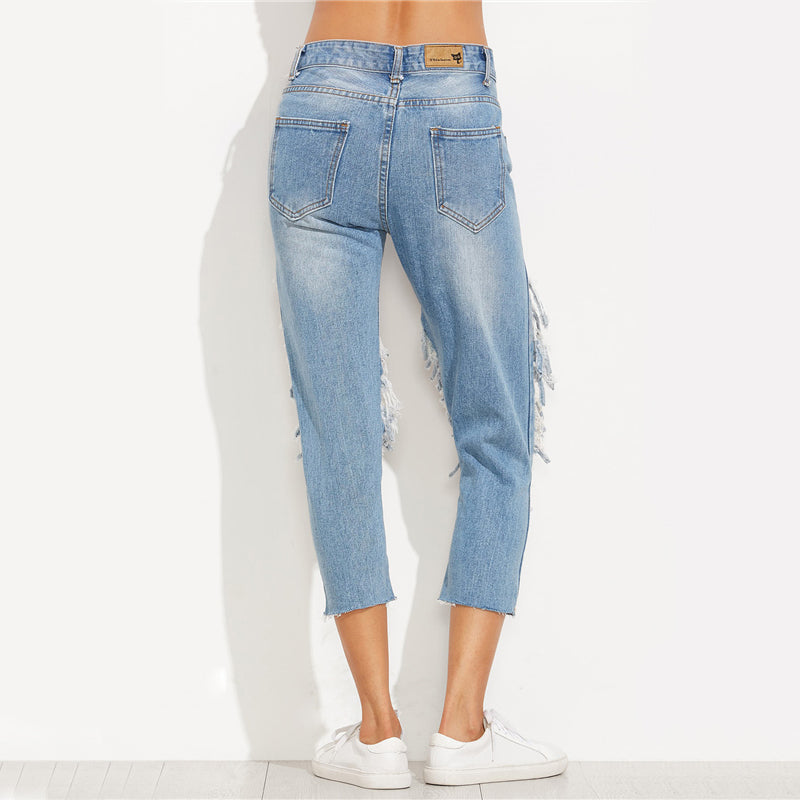 Extreme Distressed Cropped Jeans Women Blue Cut Out Skinny Denim Jeans