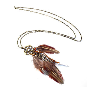 Vintage Punk Feather Ethnic Dream catcher Bohemia Long necklace