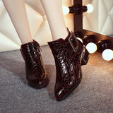 patent-leather zip pointed toe ankle boot